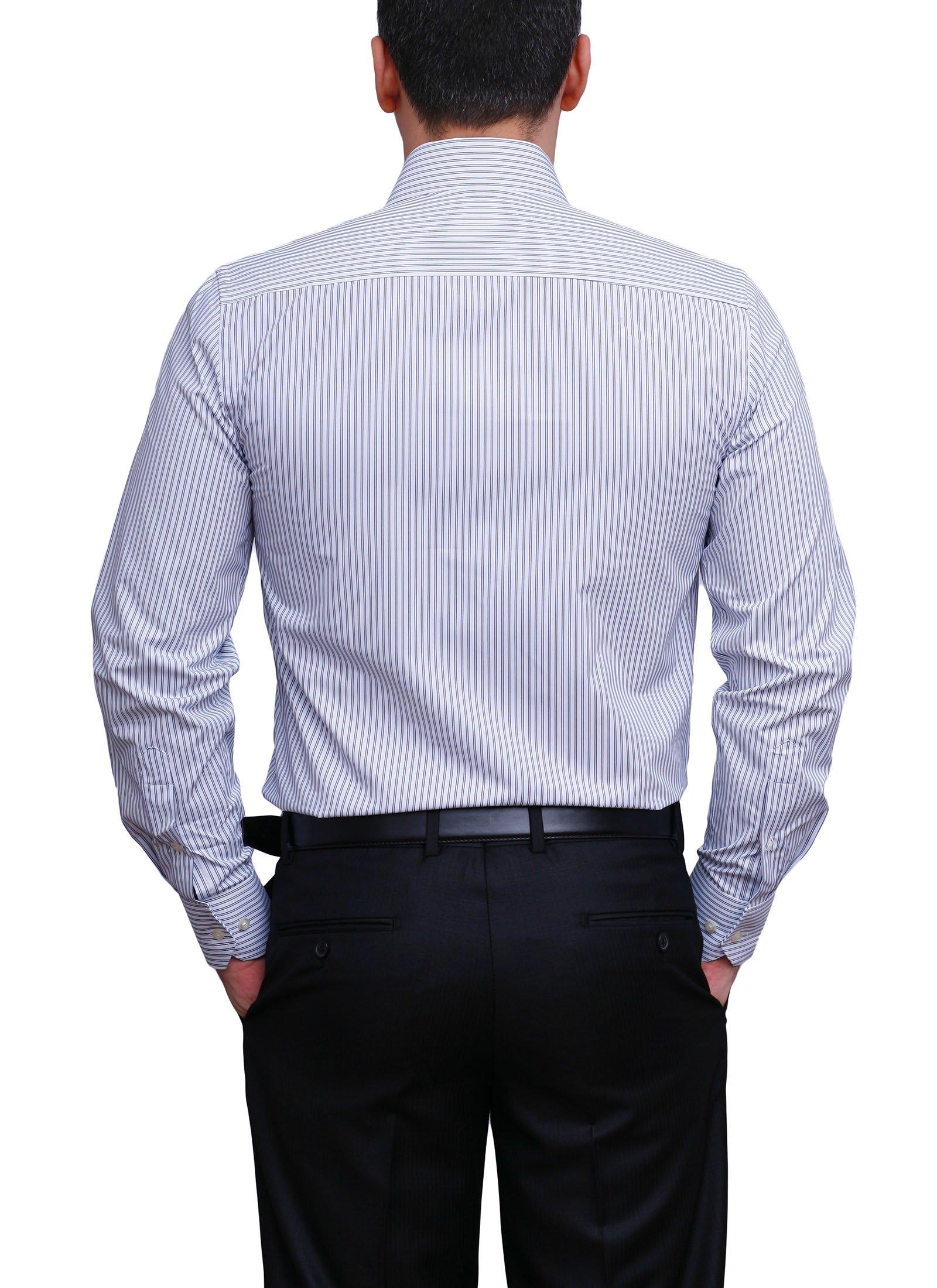 Camasa Slim Fit alba cu dungi fine negre - Grazie Filipeti