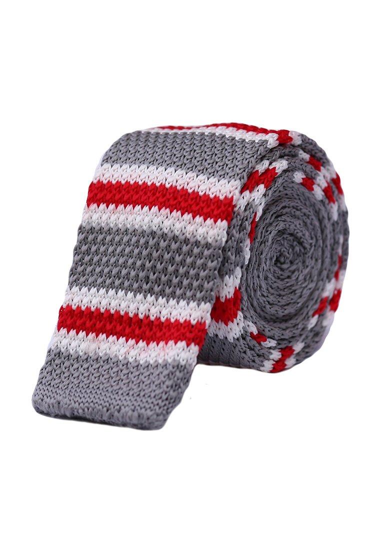 Cravata crosetata gri cu dungi albe si rosii marca Grazie Filipeti