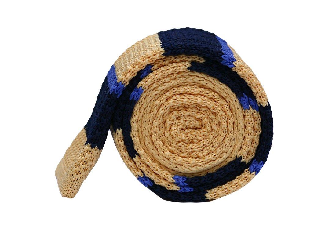 Cravata crosetata cu dungi crem, bleumarin si albastru marca Grazie Filipeti