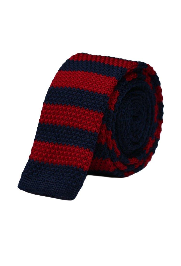 Cravata crosetata cu dungi rosu cu bleumarin marca Grazie Filipeti