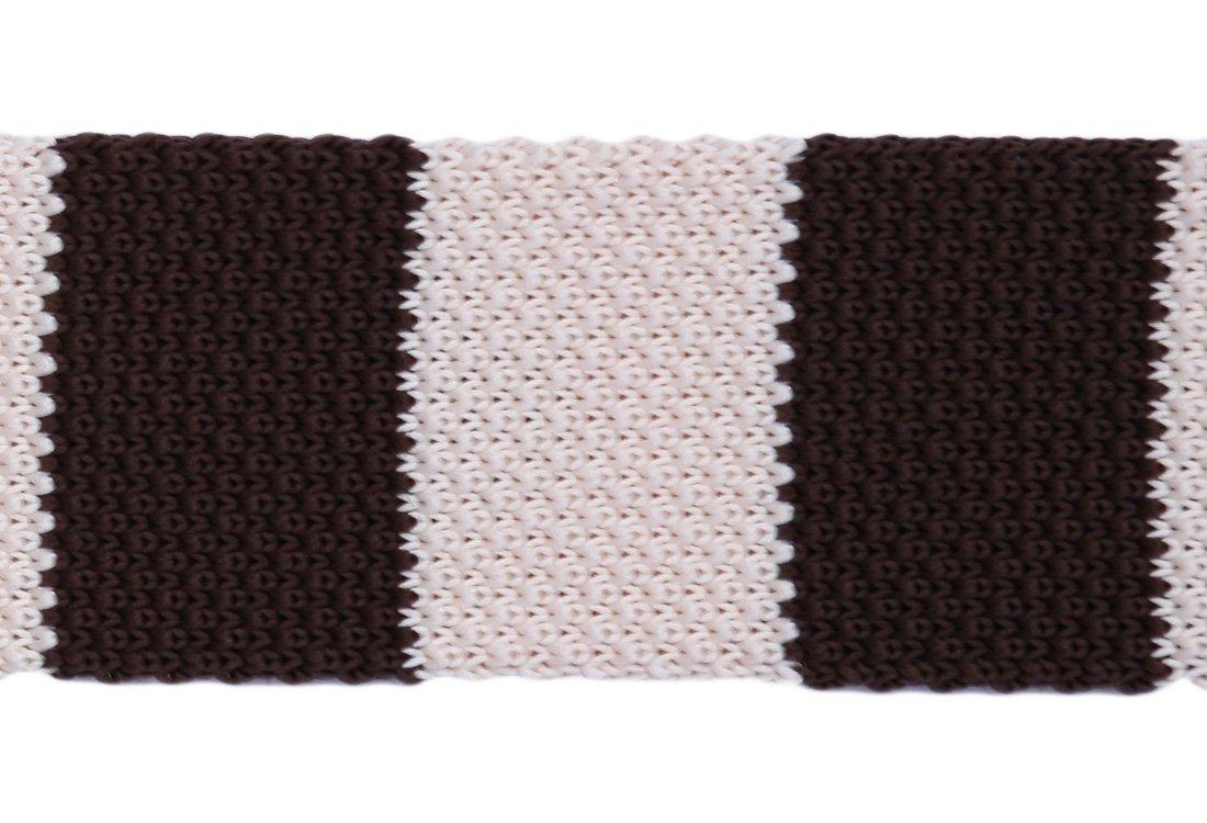 Cravata crosetata cu dungi albe si maro marca Grazie Filipeti