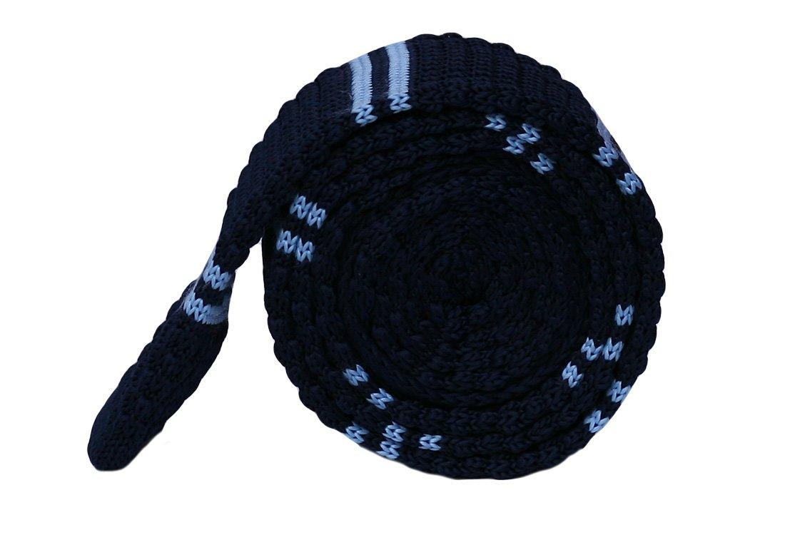Cravata crosetata bleumarin cu dungi bleu marca Grazie Filiepti