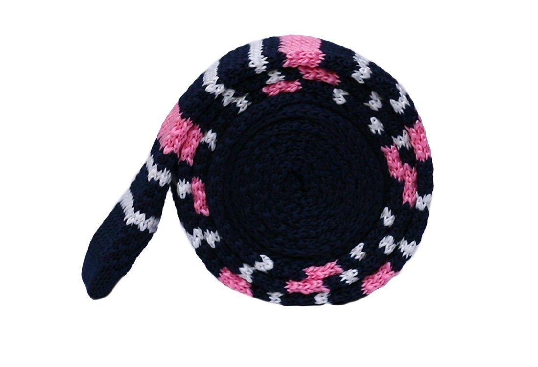 Cravata crosetata bleumarin cu dungi albe si roz