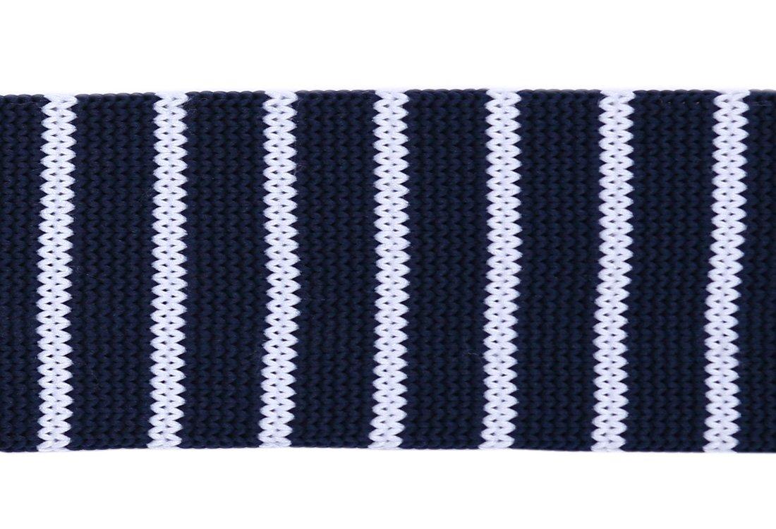 Cravata crosetata bleumarin cu dungi albe marca Grazie Filipeti