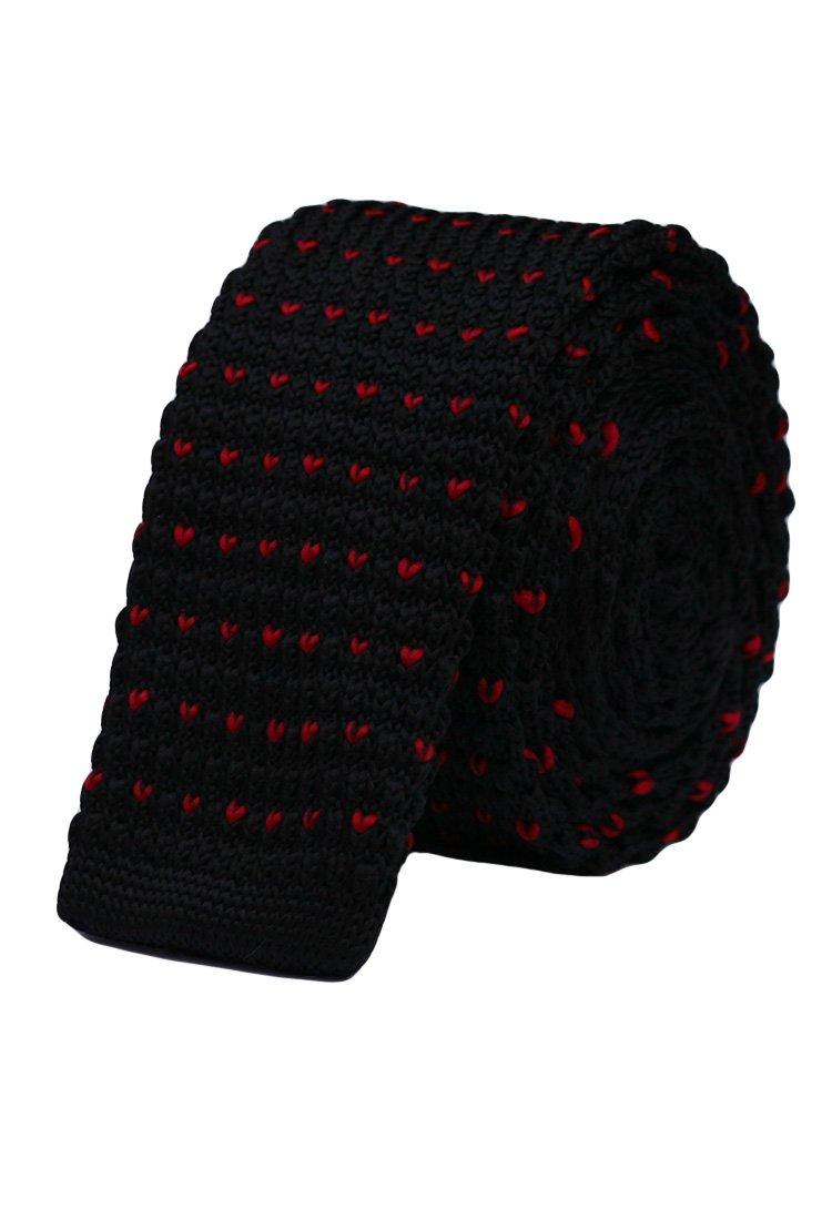 Cravata crosetata negru cu puncte rosii marca Grazie Filipeti