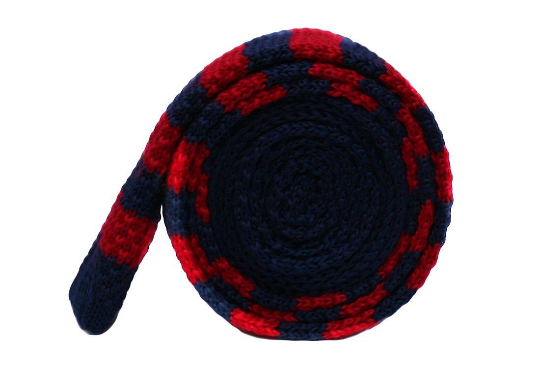 Cravata crosetata bleumarin cu dungi rosii marca Grazie Filipeti