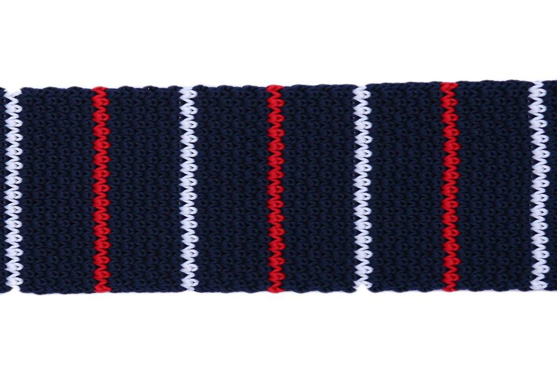 Cravata crosetata bleumarin cu dungi albe si rosii marca Grazie Filipeti
