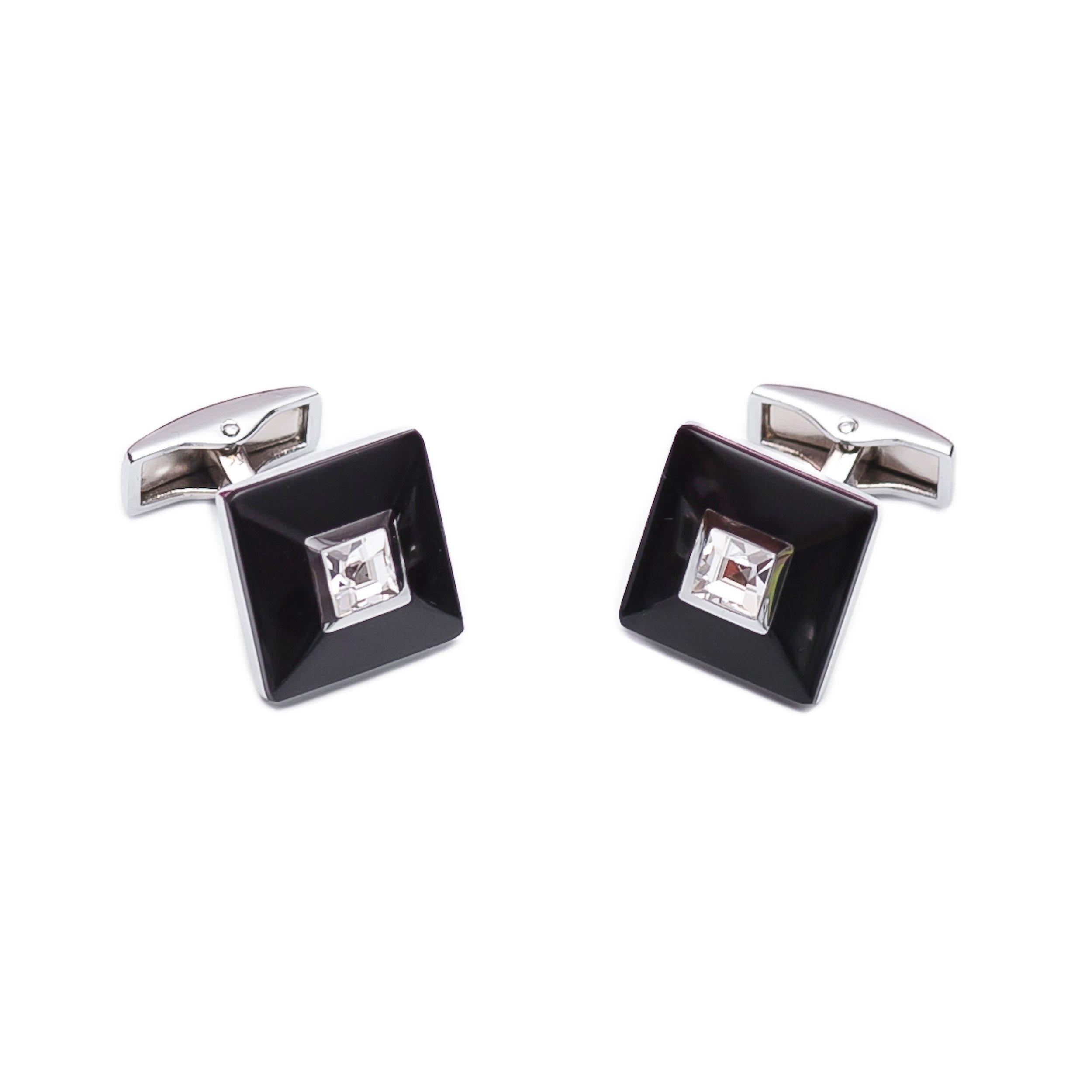 Butoni patrati cu cristale si sidef negru