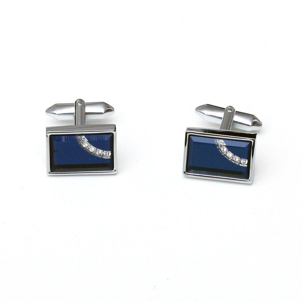 Butoni pentru camasa albastri cu cristale albe