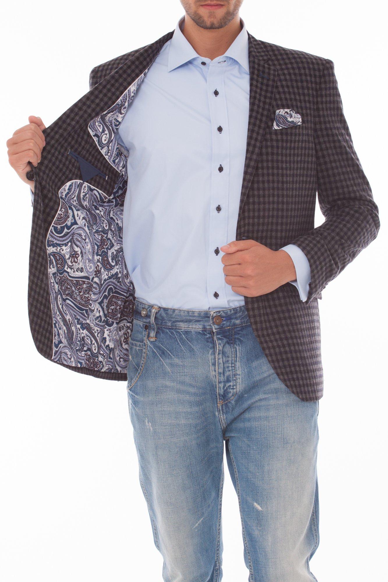 Sacou barbati gri cu patratele bleumarin marca Grazie Filipeti