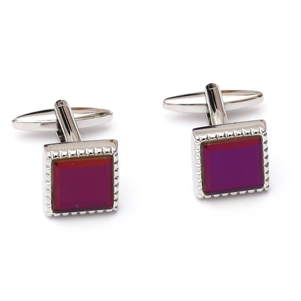 Butoni camasa patrati cu cristal violet