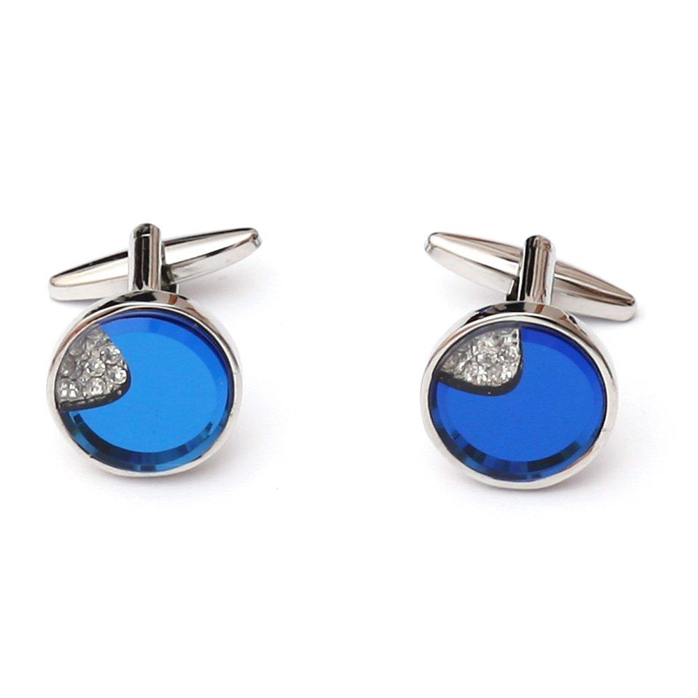 Butoni camasa rotunzi cu cristale albe si sidef albastru