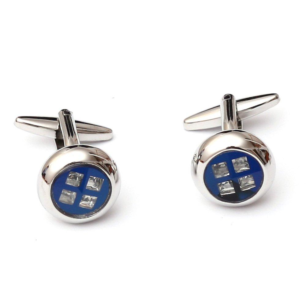 Butoni pentru camasa eleganti cu sidef albastru si cristale violet