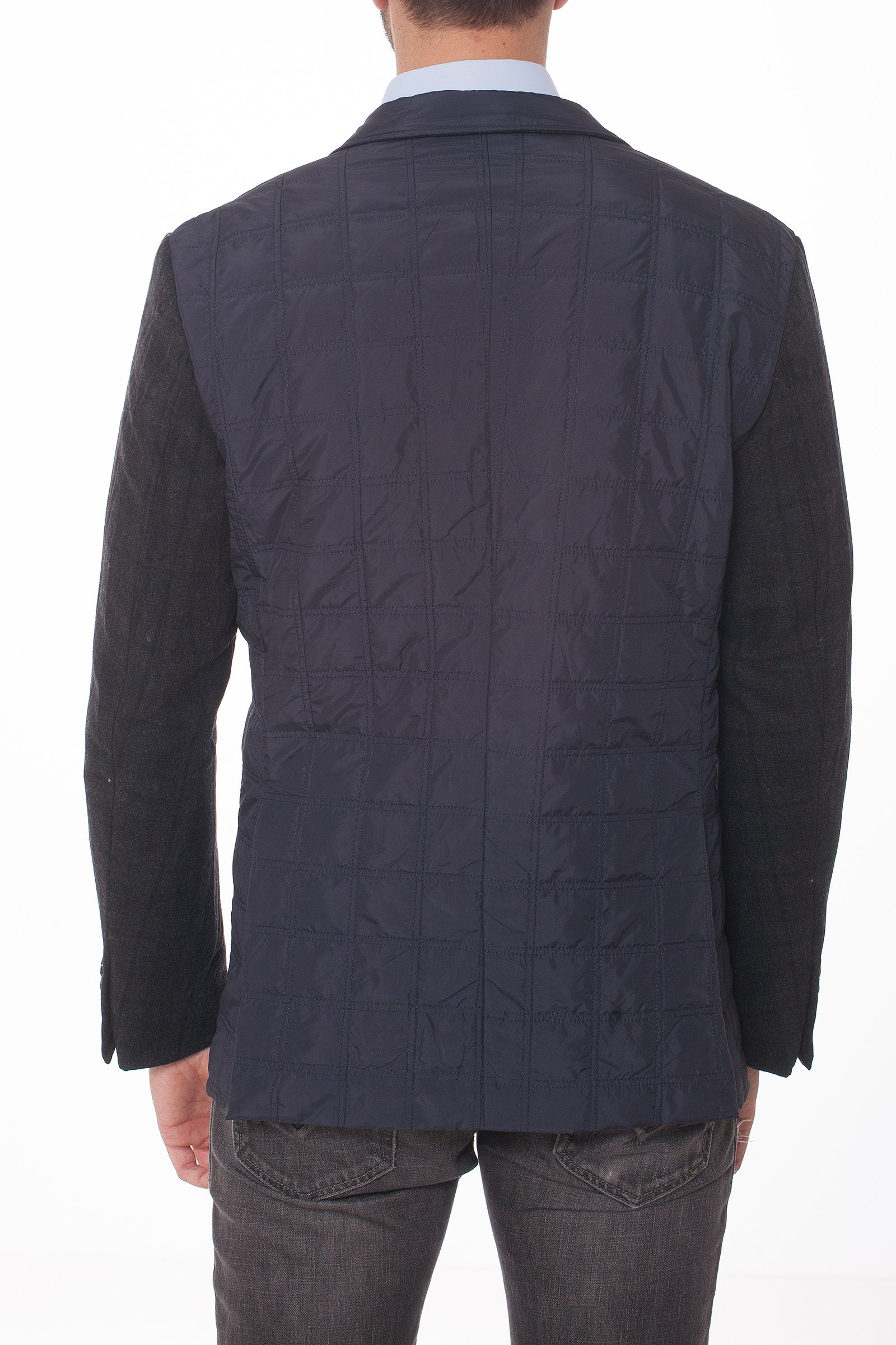Geaca matlasata tip sacou cu maneci negre in carouri din lana