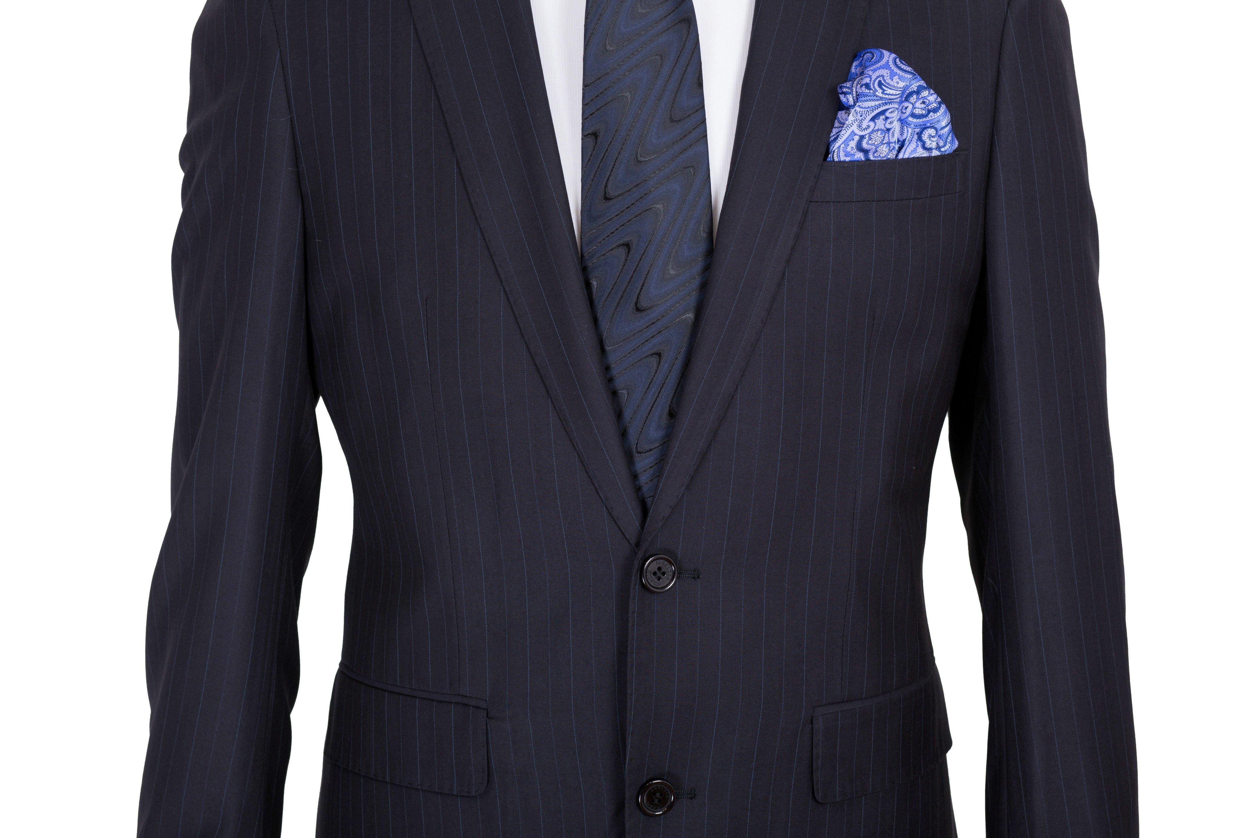 Costum barbati bleumarin cu dungi bleu Grazie Filipeti
