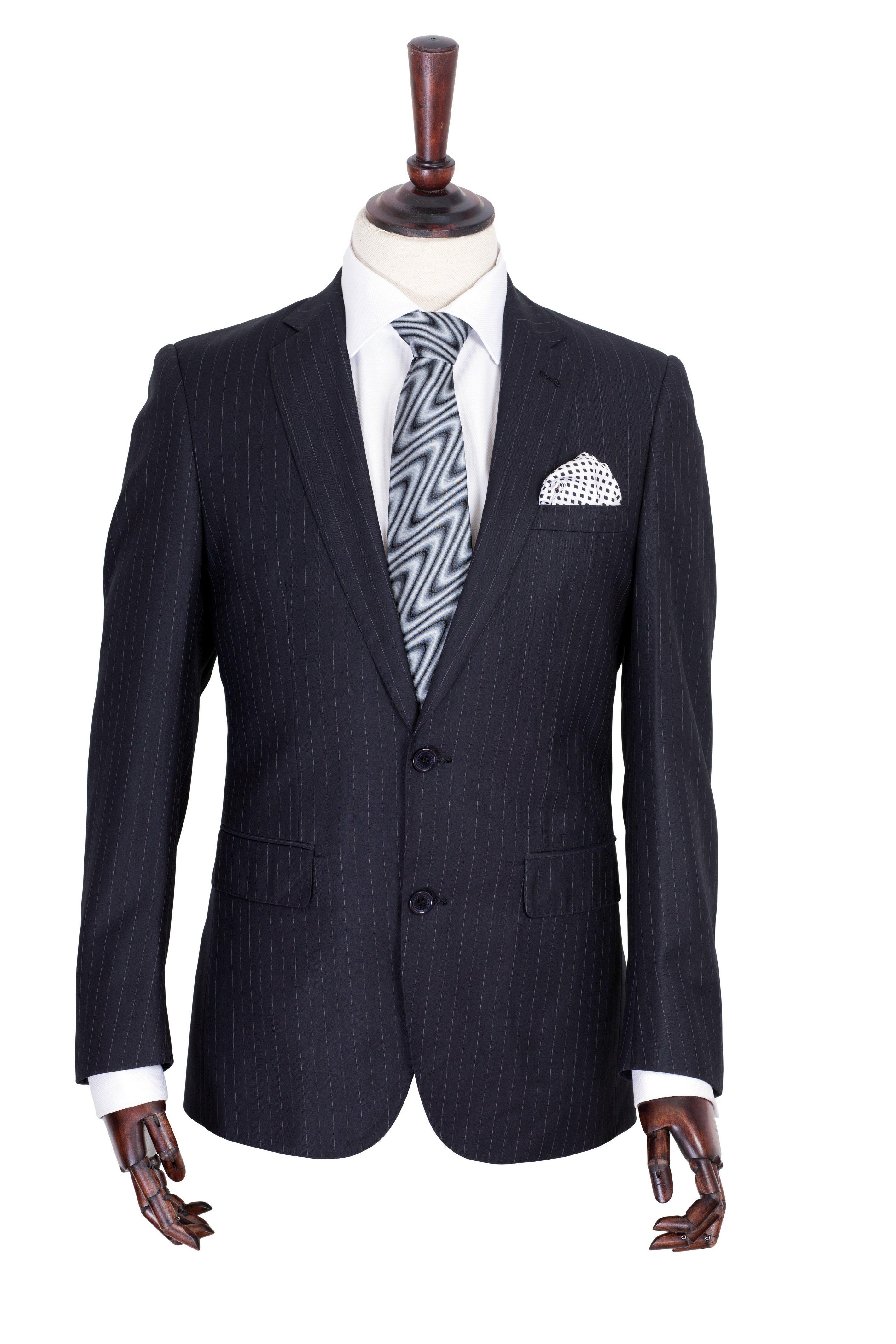 Costum barbati bleumarin cu dungi crem Grazie Filipeti