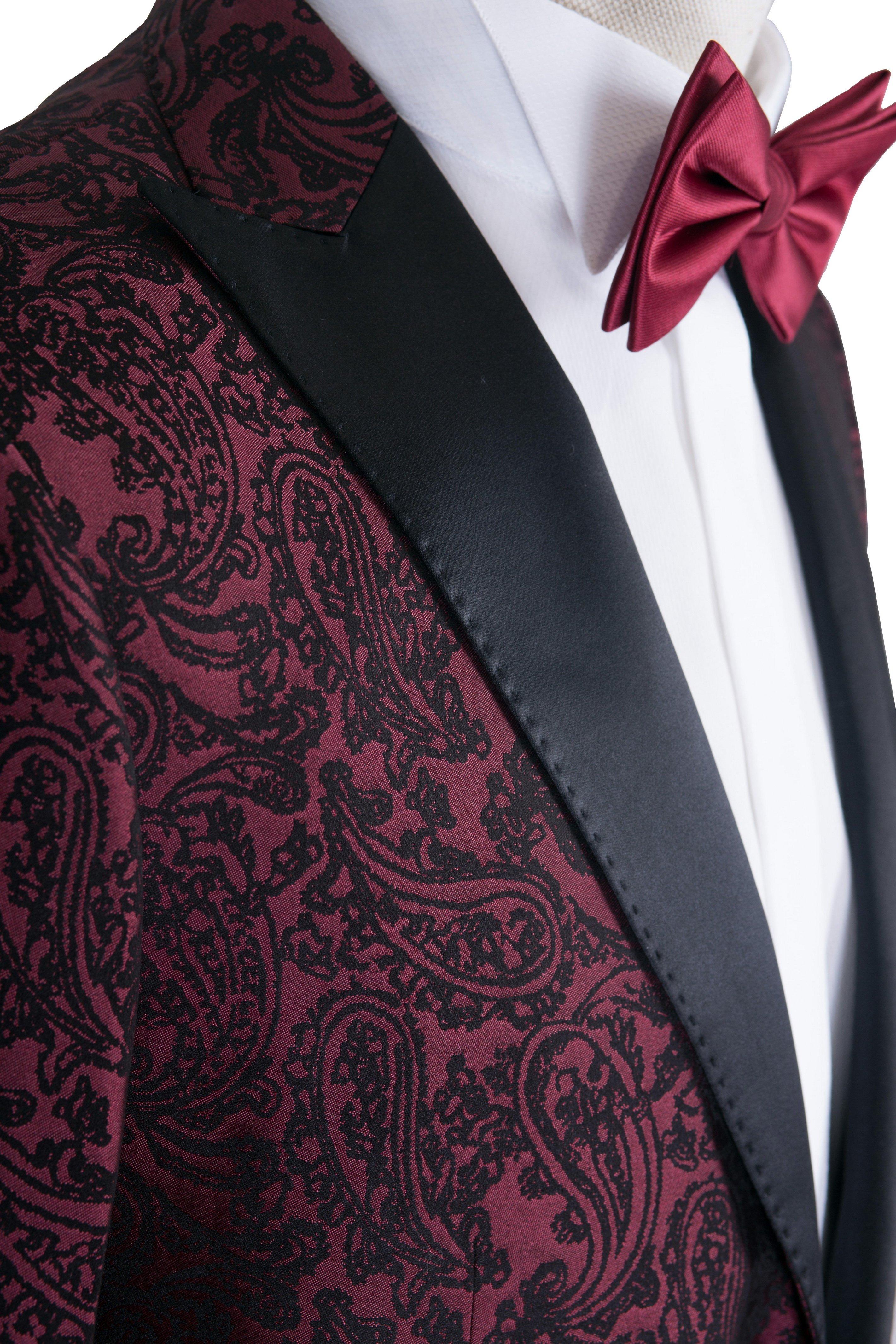 Costum barbati de ceremonie bordeaux cu model imprimat Grazie Filipeti