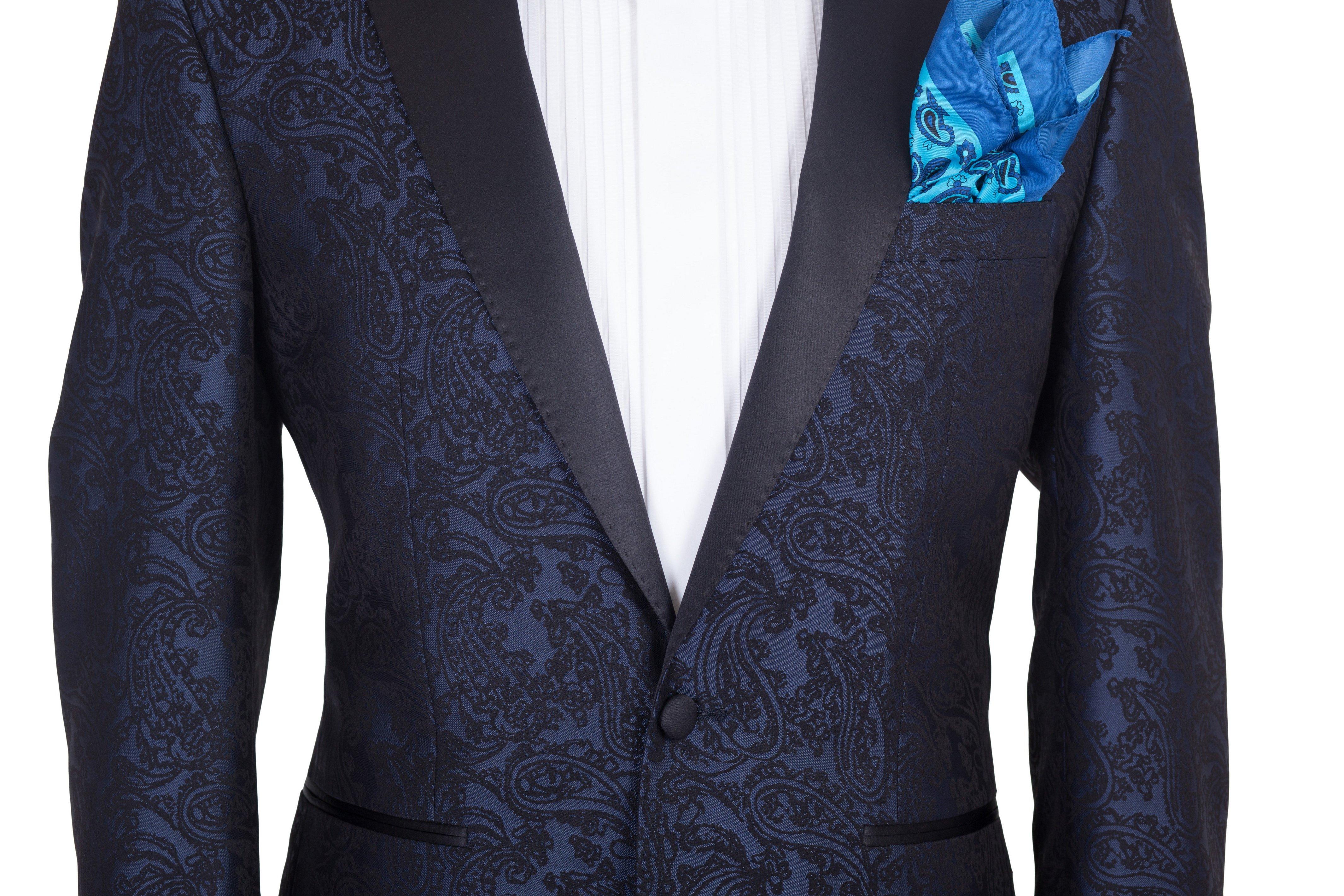 Costum barbati de ceremonie bleumarin cu model imprimat Grazie Filipeti