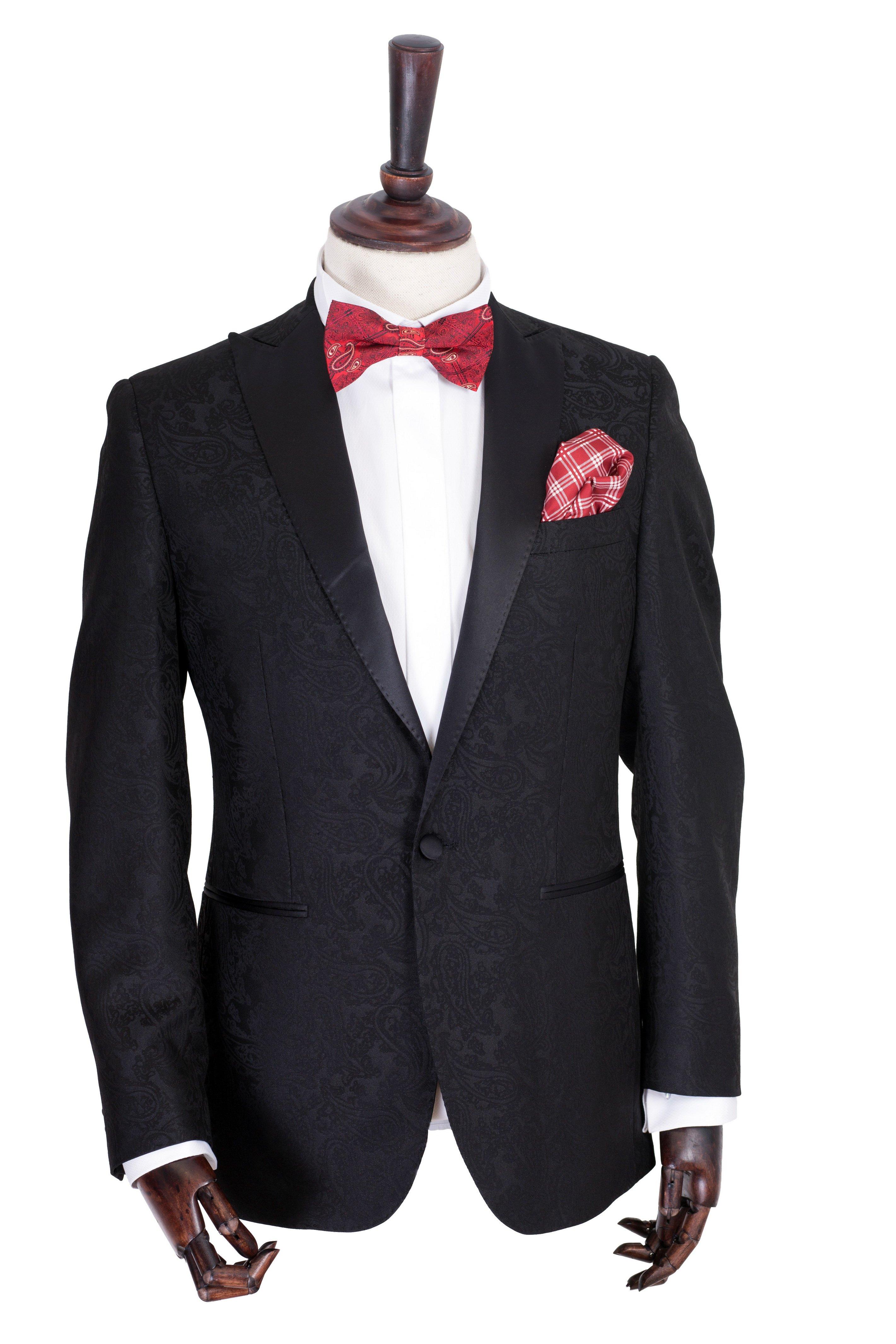 Costum barbati de ceremonie negru cu model imprimat Grazie Filipeti