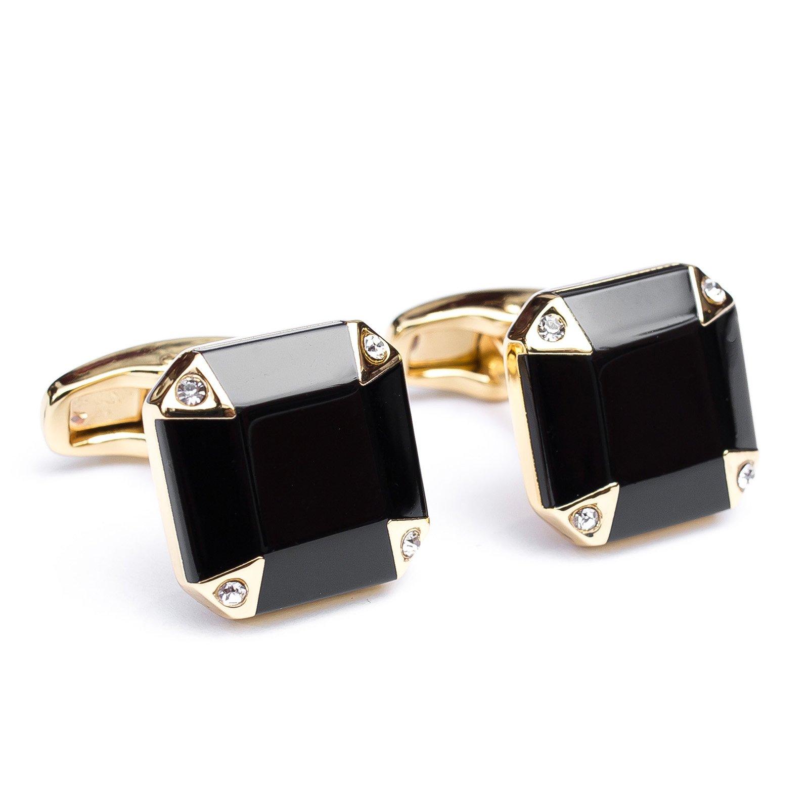 Butoni camasa patrati aurii cu cristale albe si sidef negru