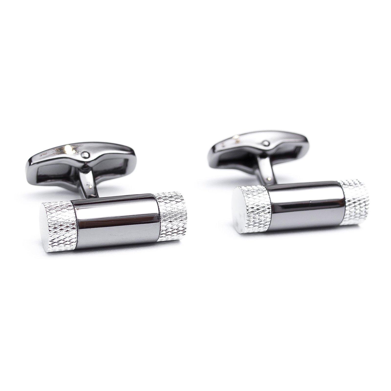 Butoni camasa argintii in forma de cilindru