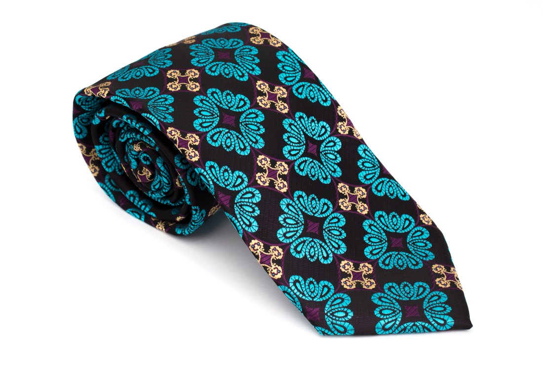 Cravata clasica negru cu motiv floral turcoaz Grazie Filipeti