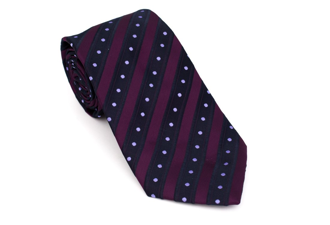 Cravata clasica violet cu dungi bleumarin Grazie Filipeti