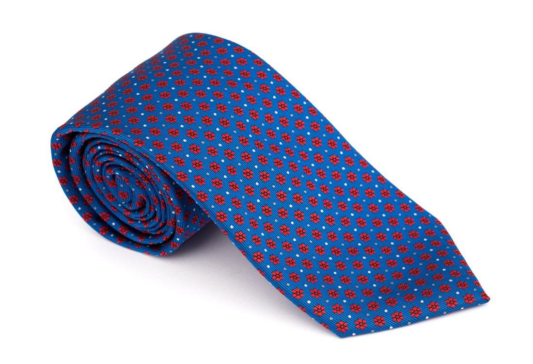 Cravata clasica albastra cu flori rosii - Grazie Filipeti