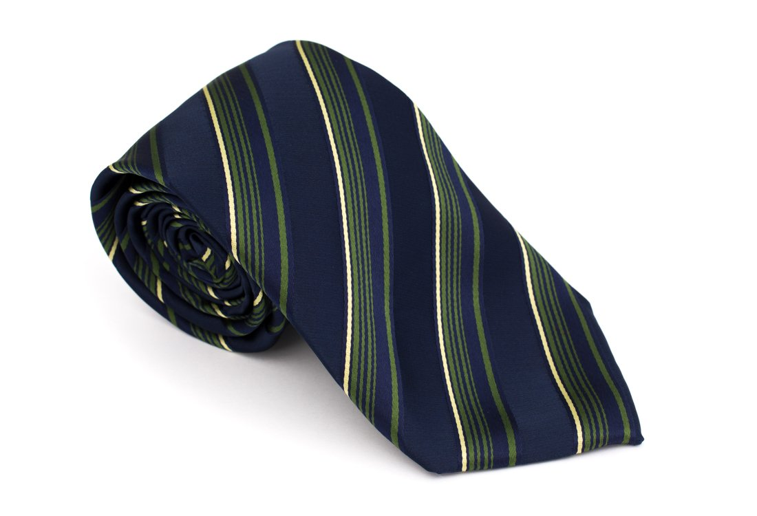 Cravata clasica bleumarin cu dungi verzi - Grazie Filipeti
