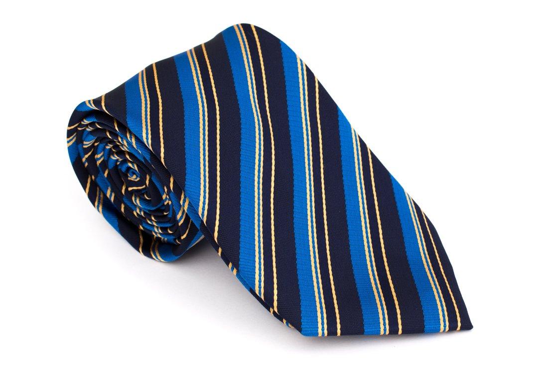 Cravata clasica bleumarin cu dungi albastre si galbene - Grazie Filipeti