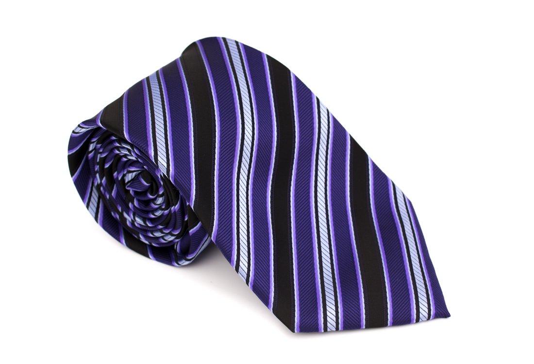 Cravata clasica neagra cu dungi mov si albe - Grazie Filipeti