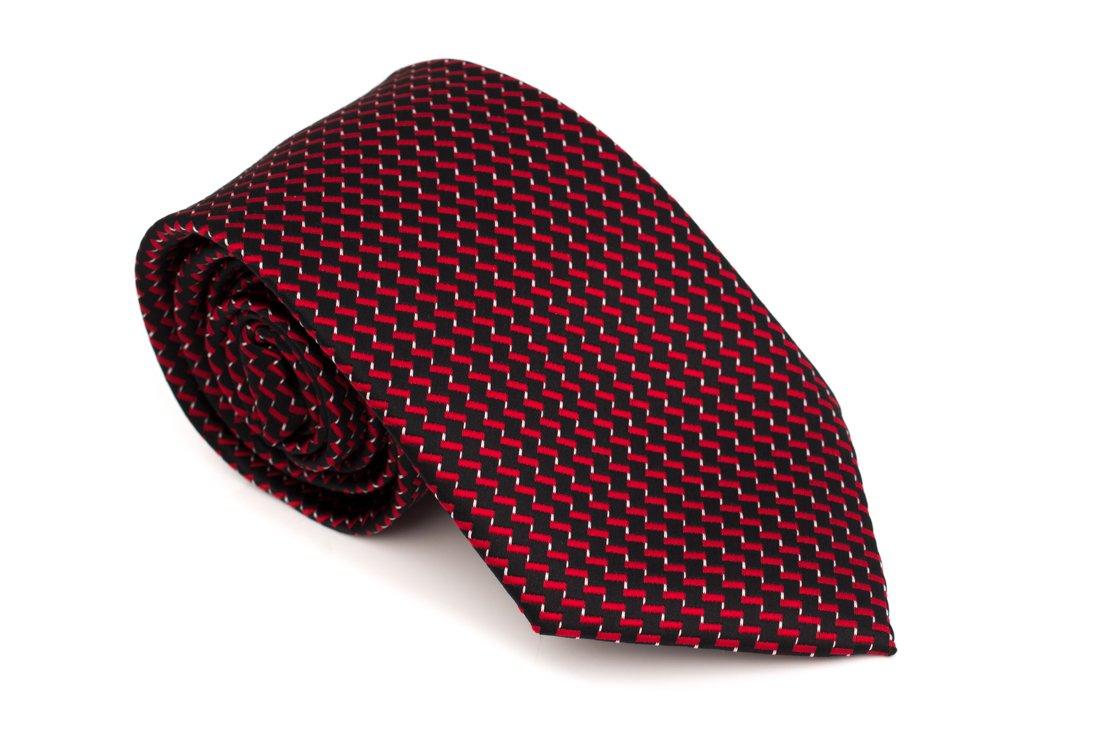 Cravata clasica neagra cu model in zig-zag rosu - Grazie Filipeti