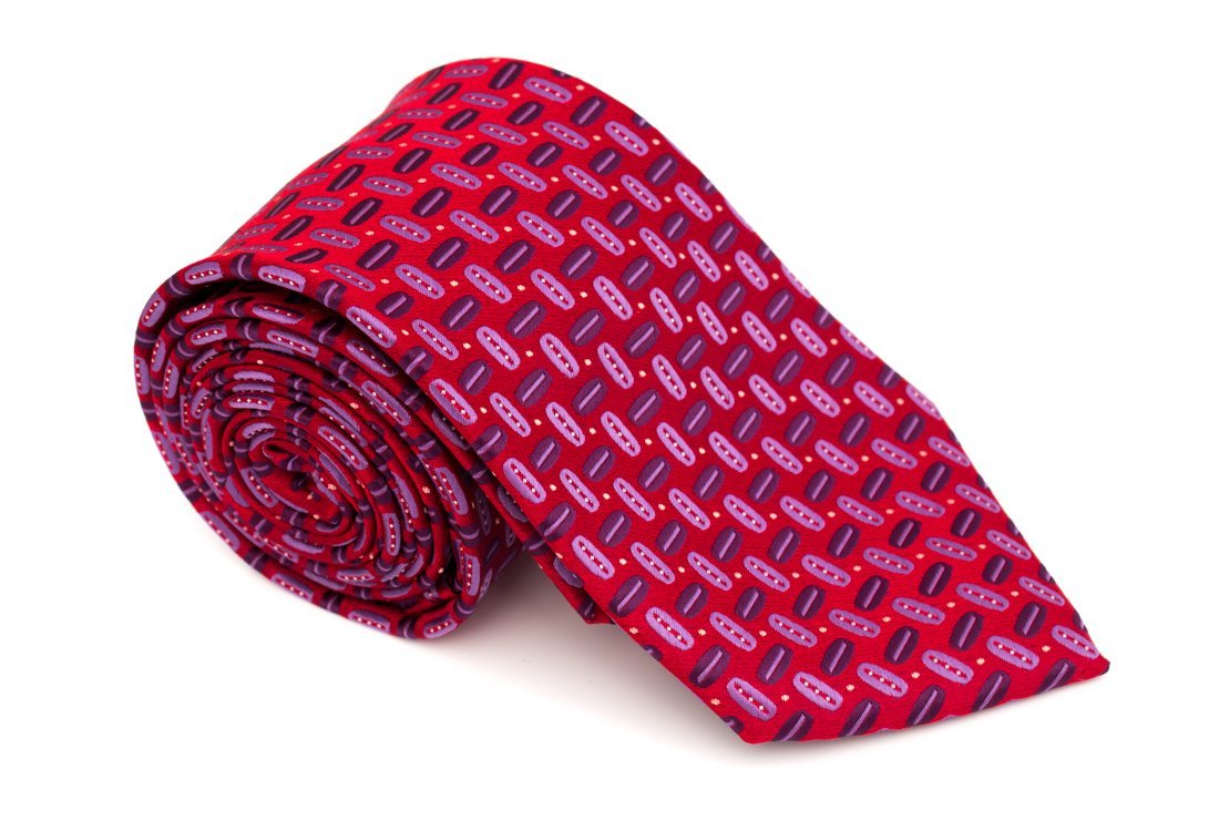 Cravata clasica rosie cu model bob cafea - Grazie Filipeti