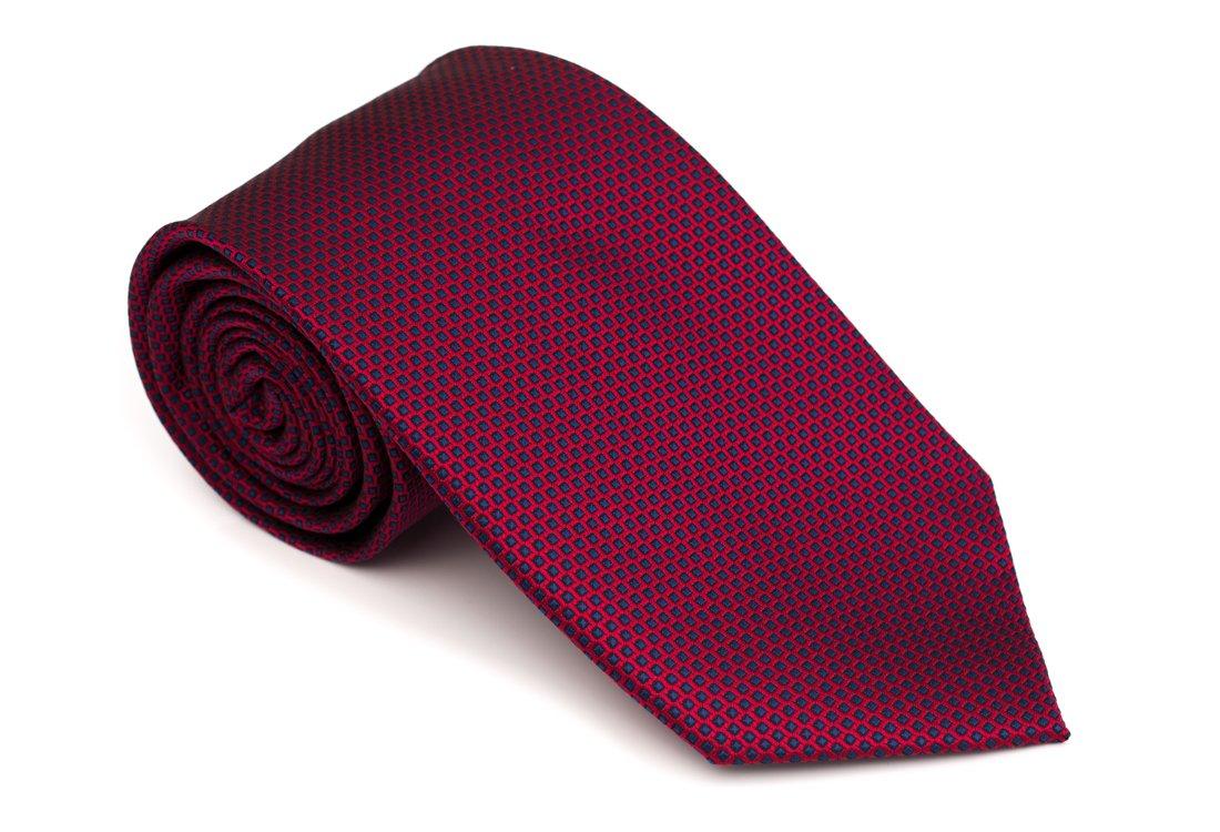 Cravata clasica bordeaux cu patrate albastre Grazie Filipeti