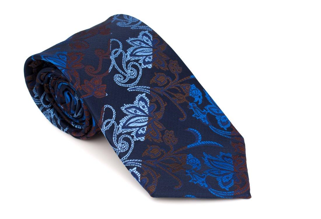 Cravata clasica bleumarin cu motiv floral Grazie Filipeti