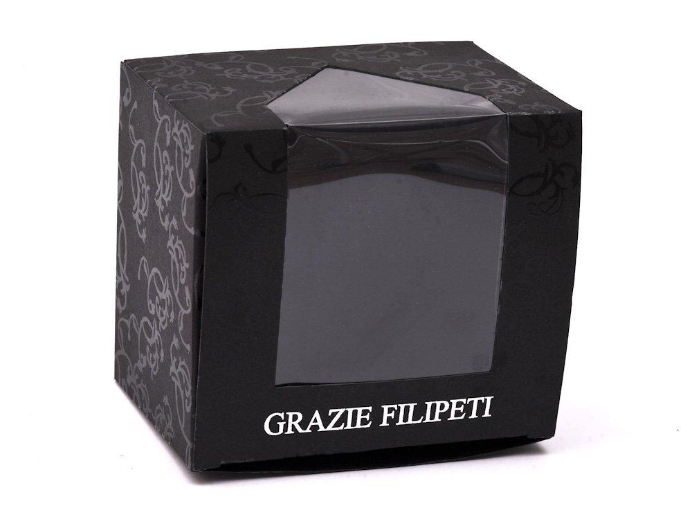 Cravata slim din matase bleumarin cu patrate rosii Grazie Filipeti