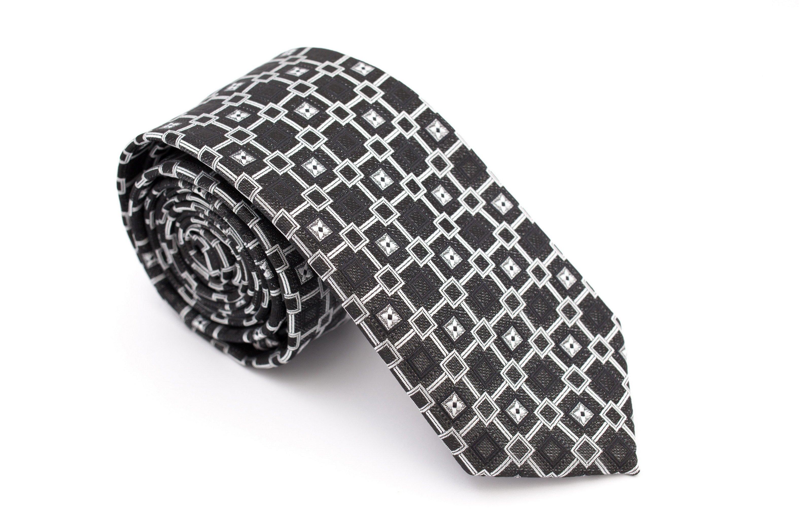 Cravata slim negru cu patrate gri Grazie Filipeti