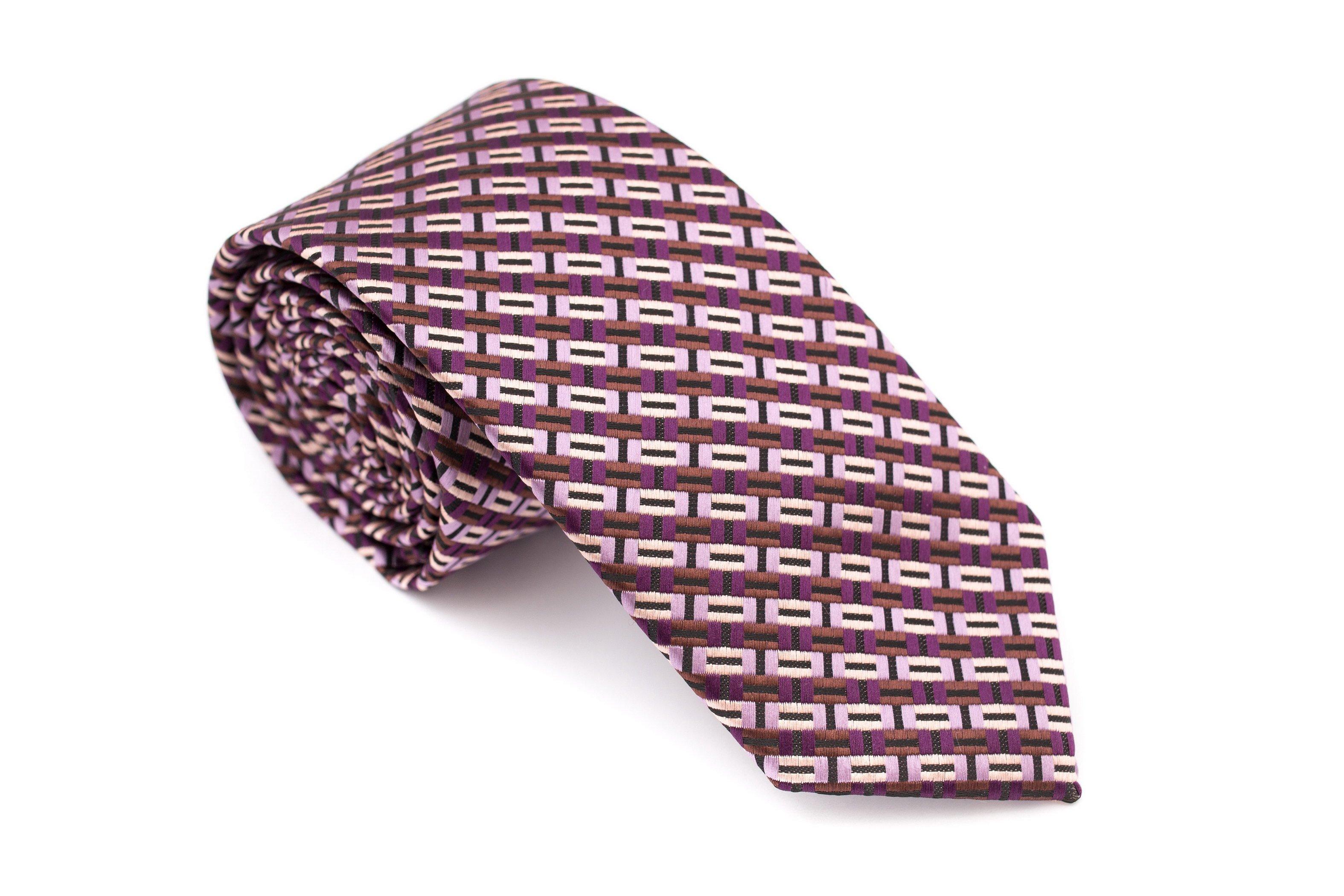 Cravata slim mov cu imprimeuri lila si maro Grazie Filipeti