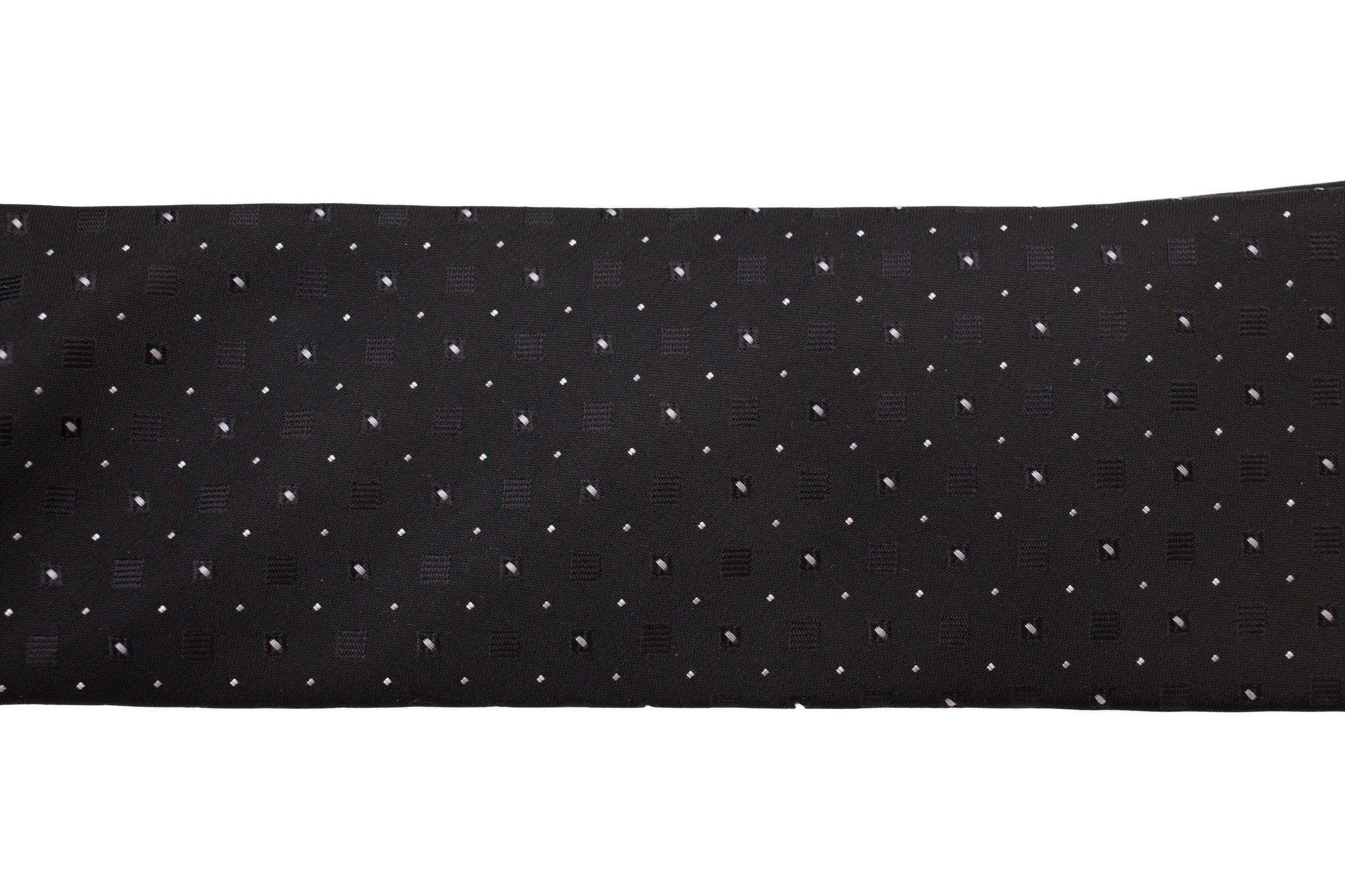 Cravata neagra slim cu picouri gri si albe Grazie Filipeti