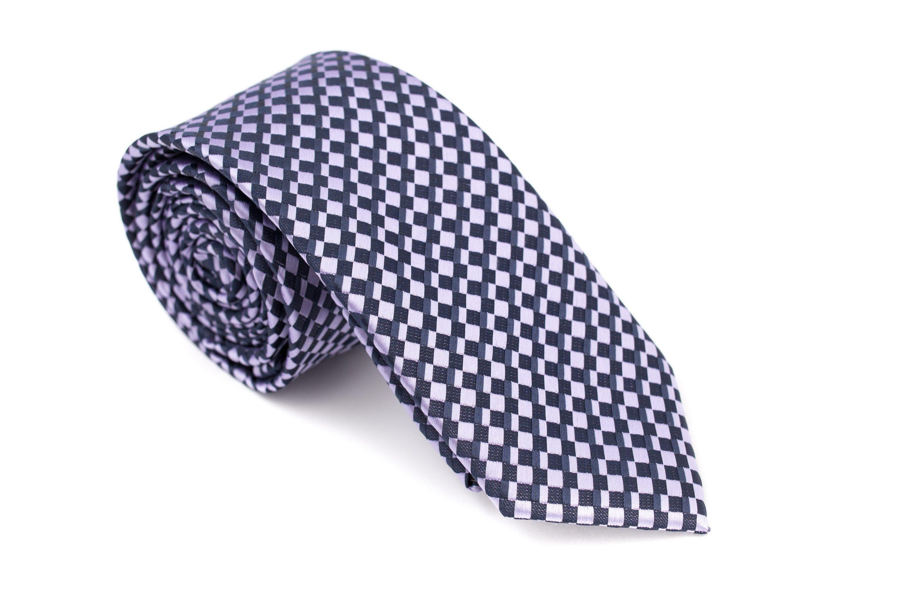 Cravata slim in carouri alb si albastru Grazie Filipeti
