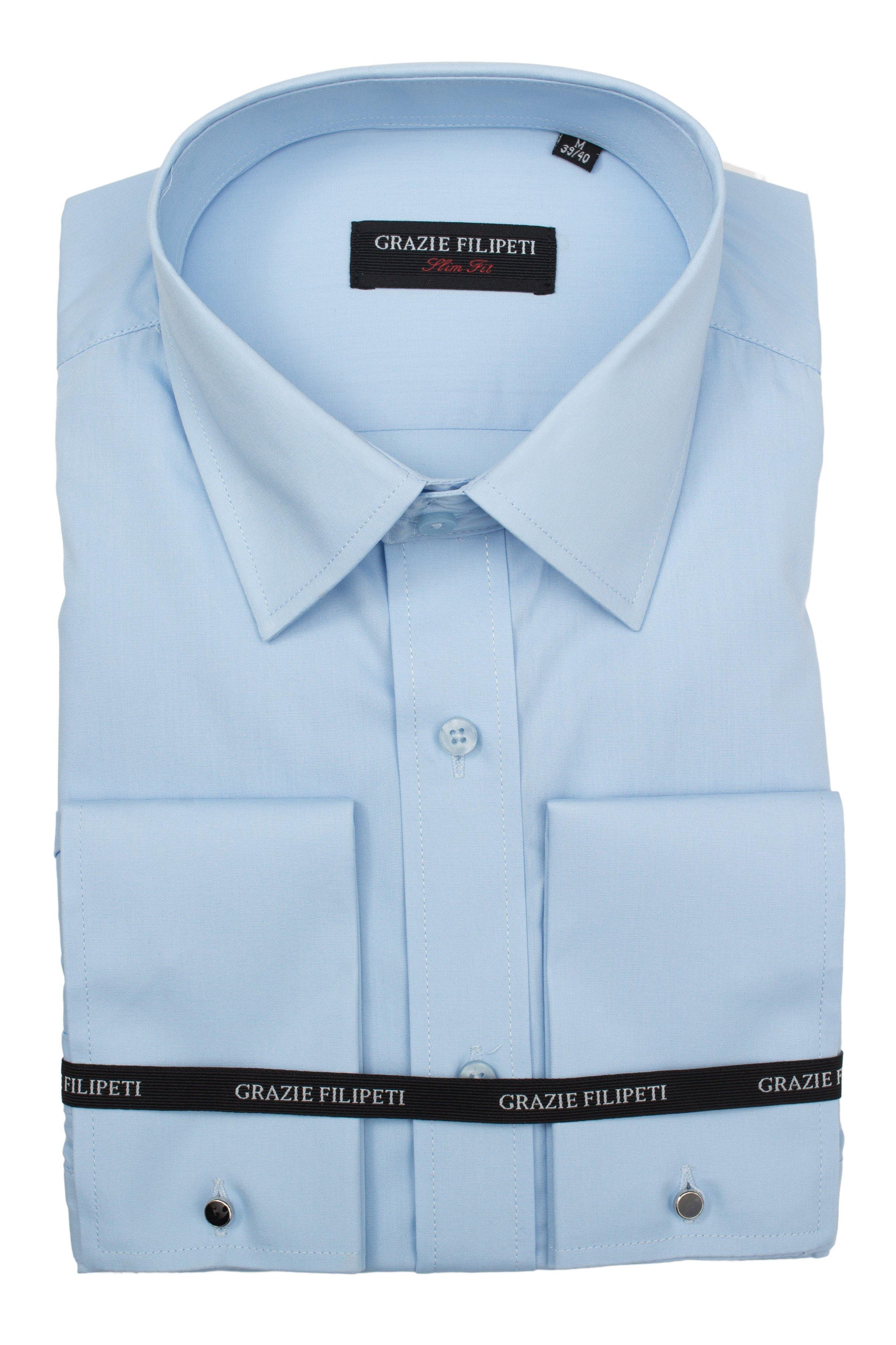 Camasa Slim Fit bleu pentru butoni Grazie Filipeti