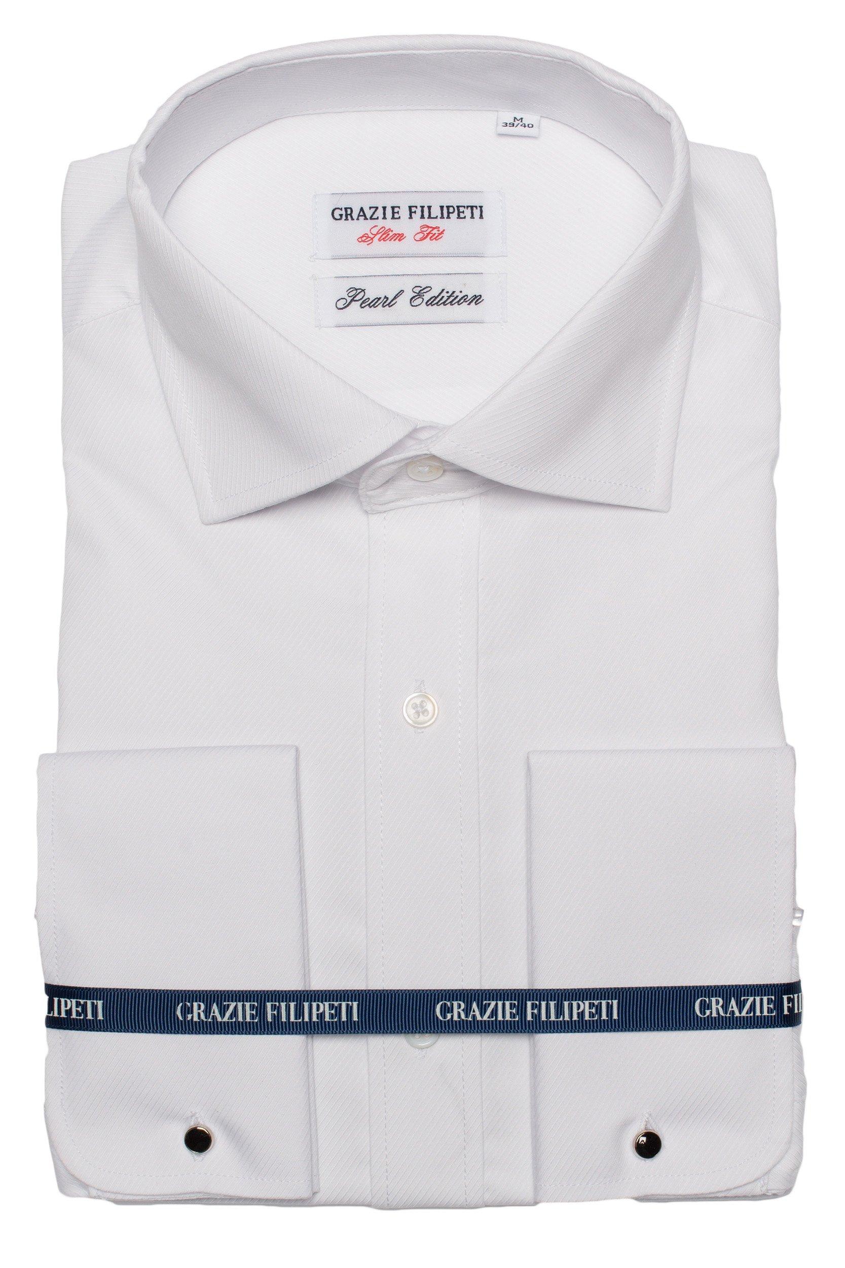 Camasa alba Slim Fit pentru butoni cu model in dungi Grazie Filipeti