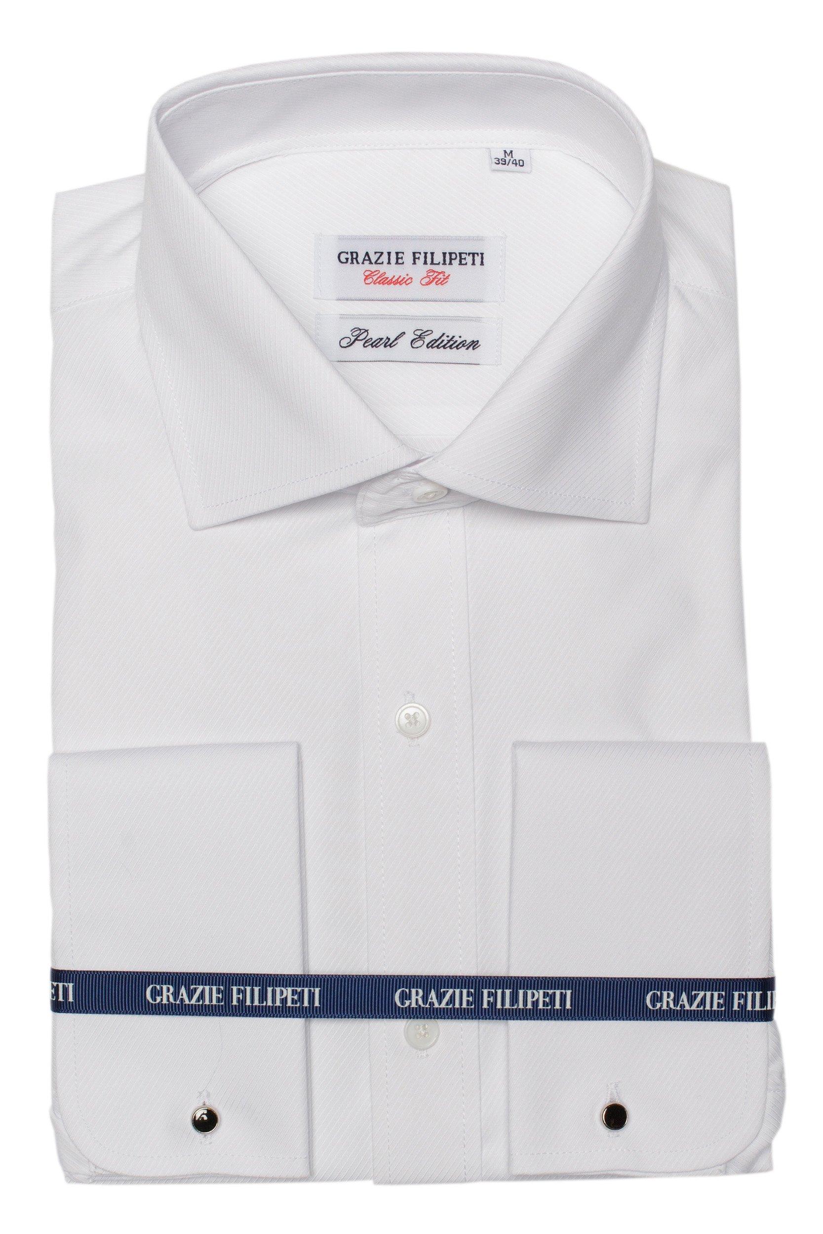 Camasa alba Clasic Fit pentru butoni cu model in dungi Grazie Filipeti