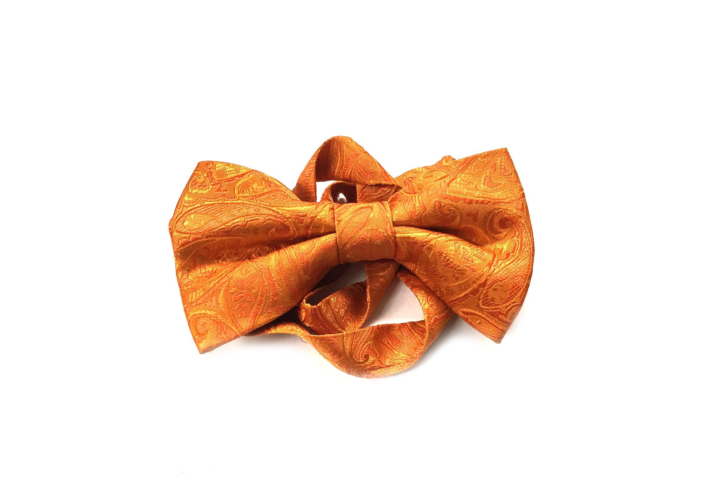 Papion matase orange cu model paisley Grazie Filipeti