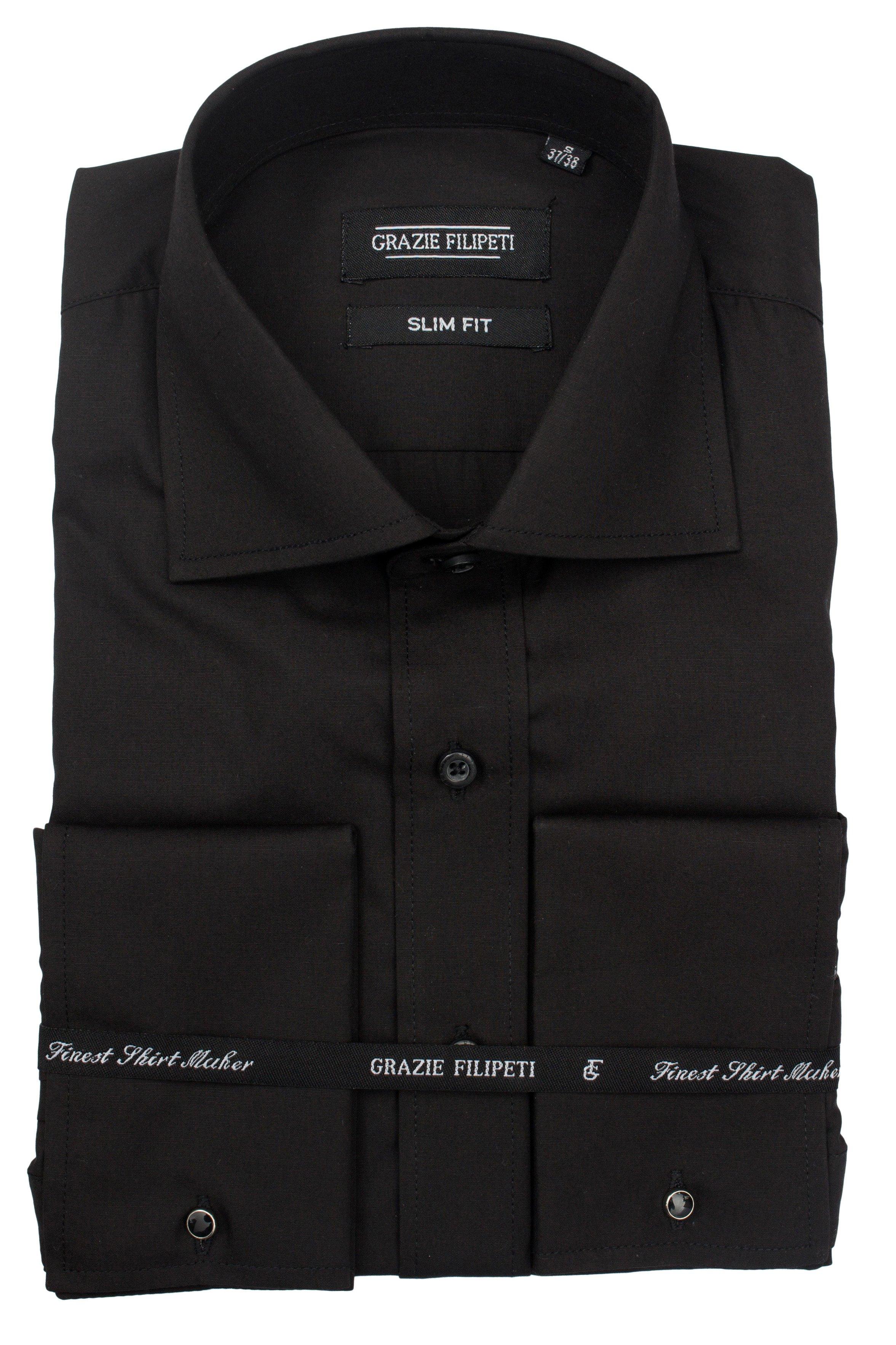 Camasa Slim Fit negru uni pentru butoni Grazie Filipeti