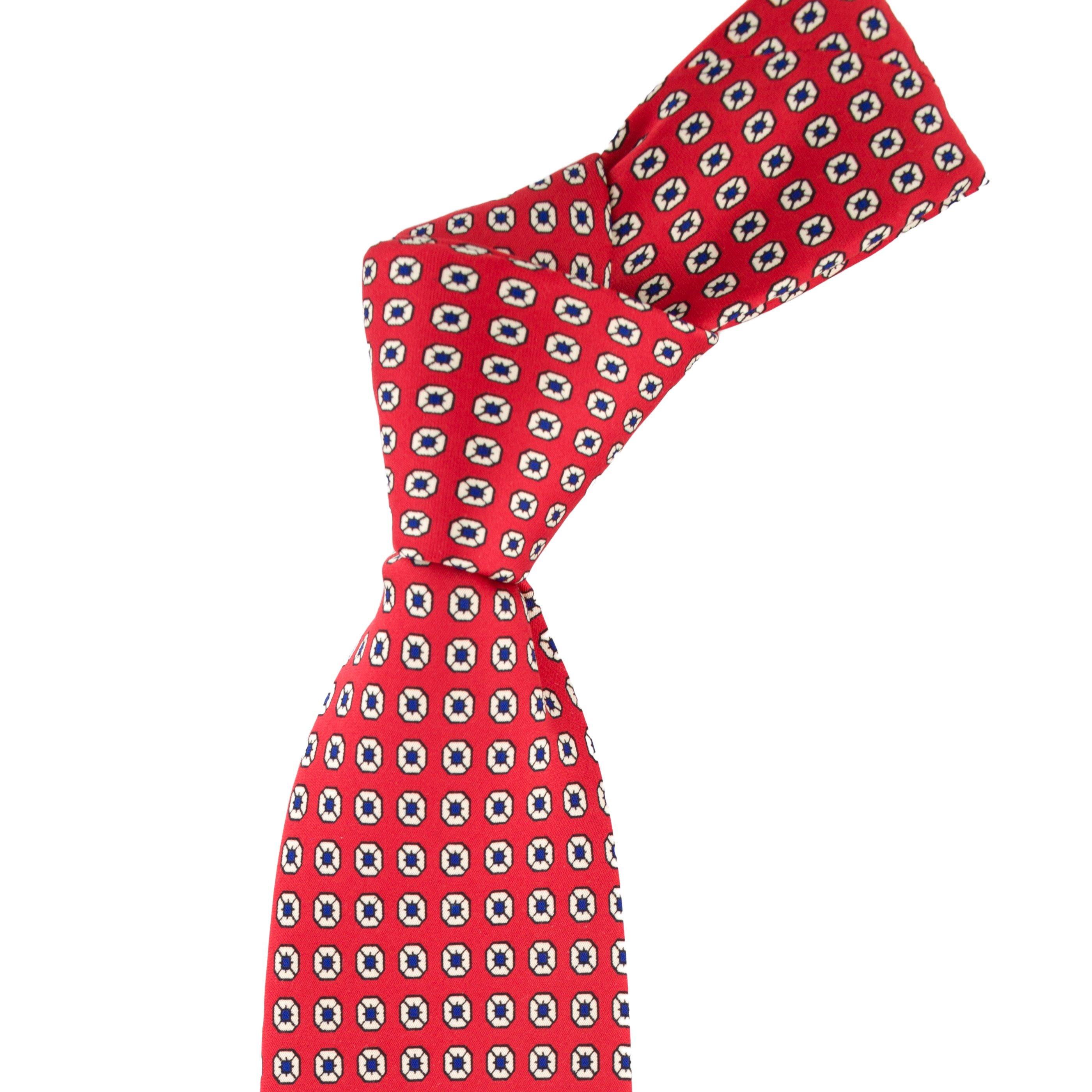 Cravata rosie cu model print