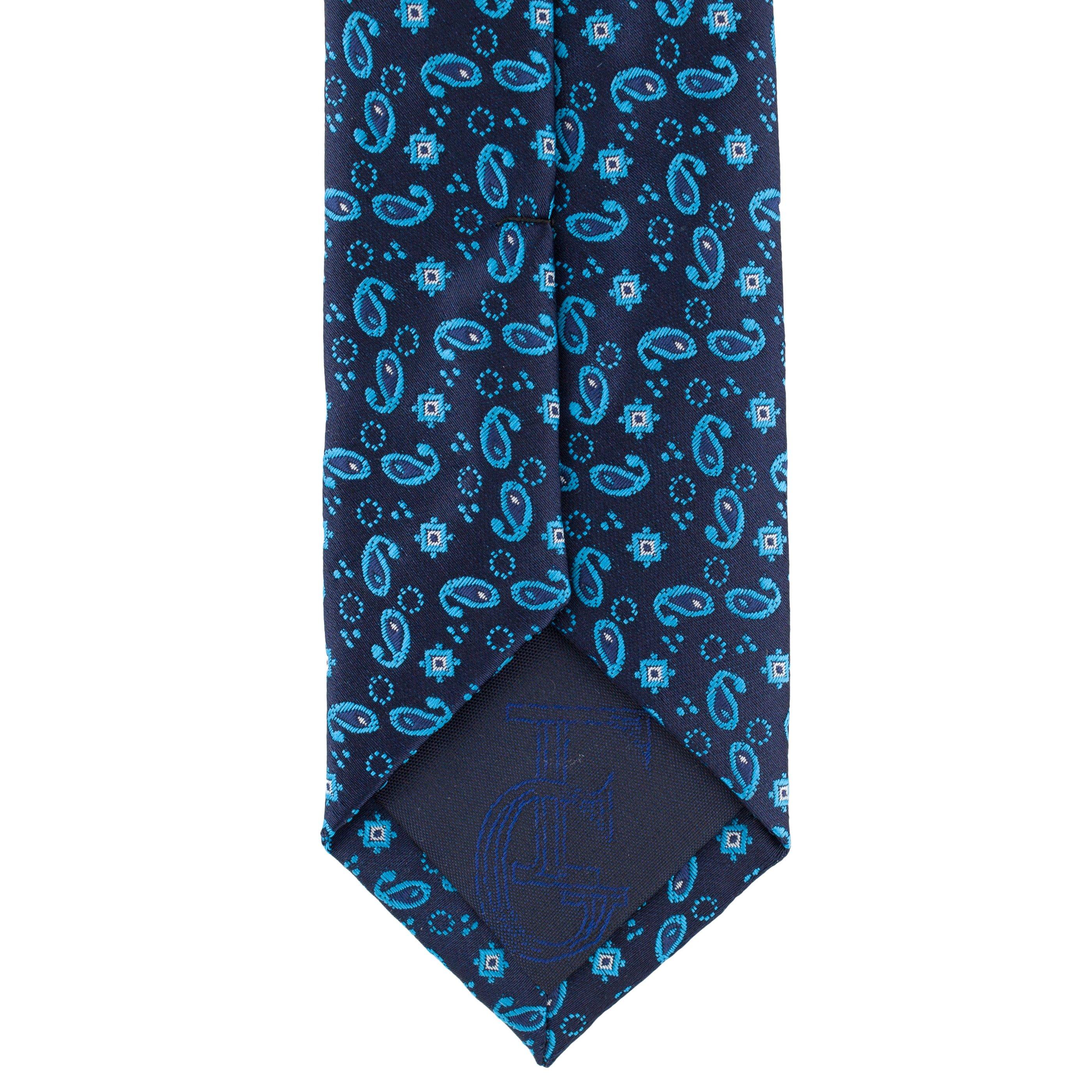 Cravata Slim Blue Paisley