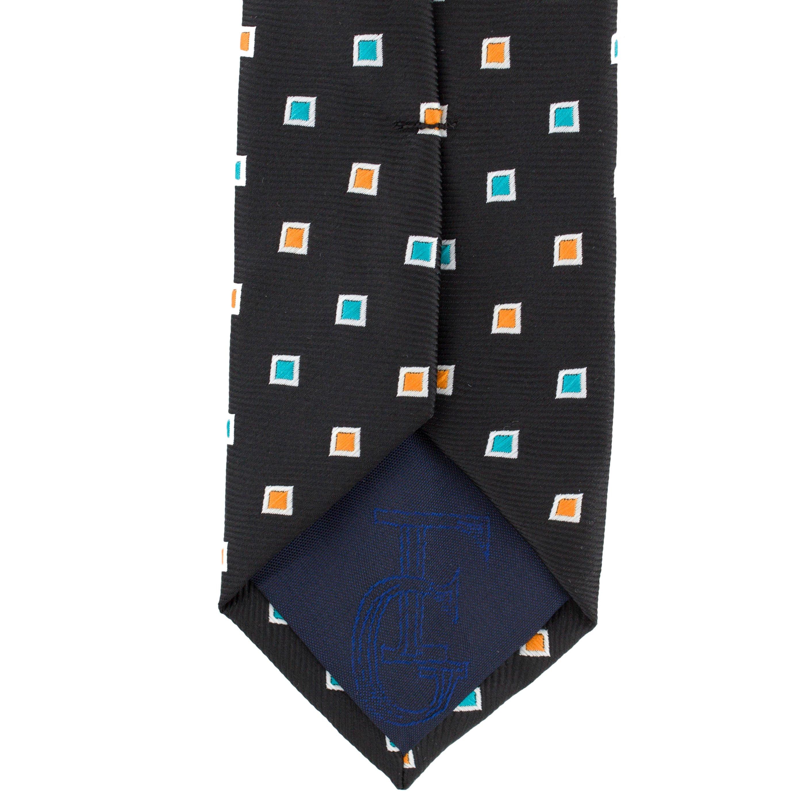 Cravata Slim neagra cu patratele