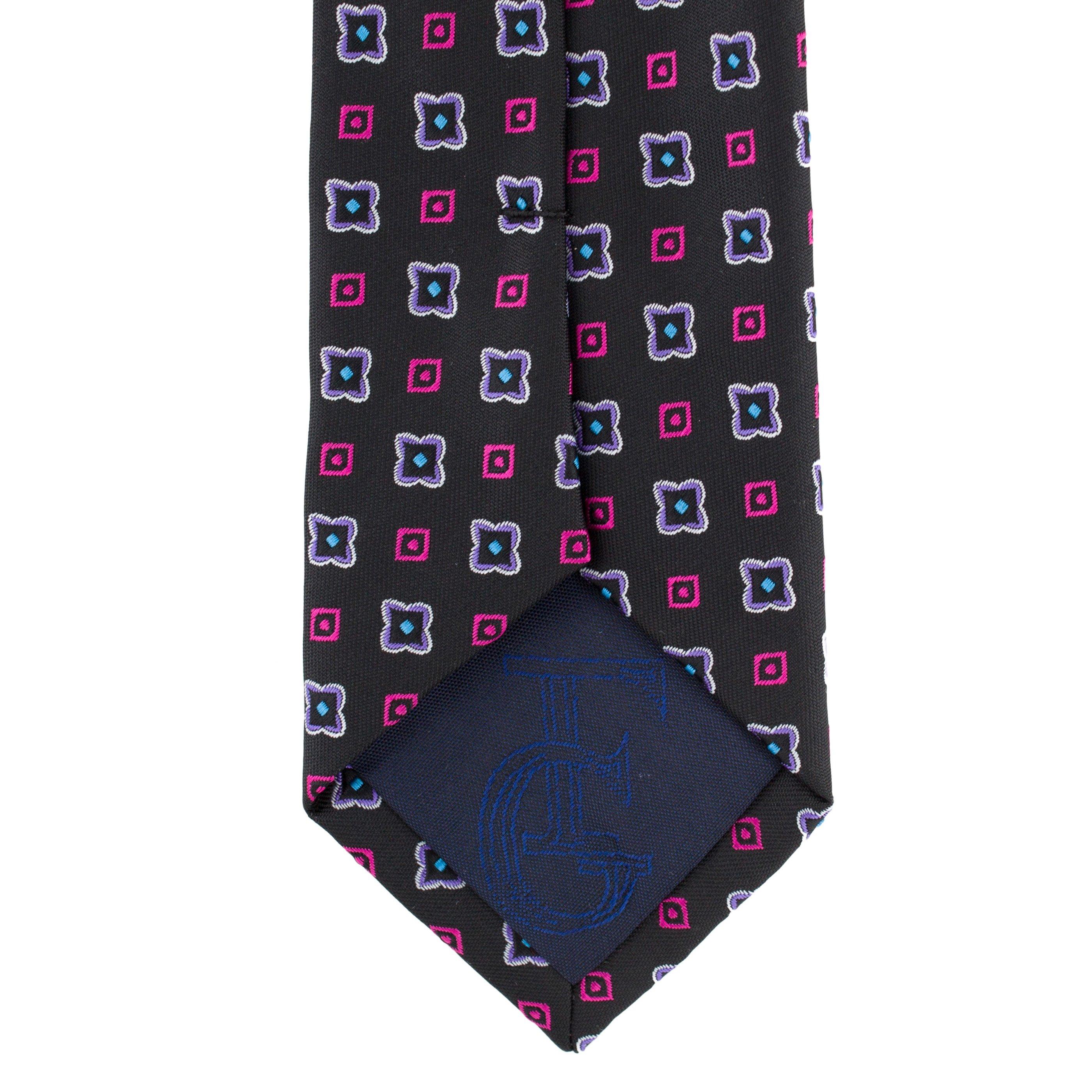 Cravata Slim neagra cu model