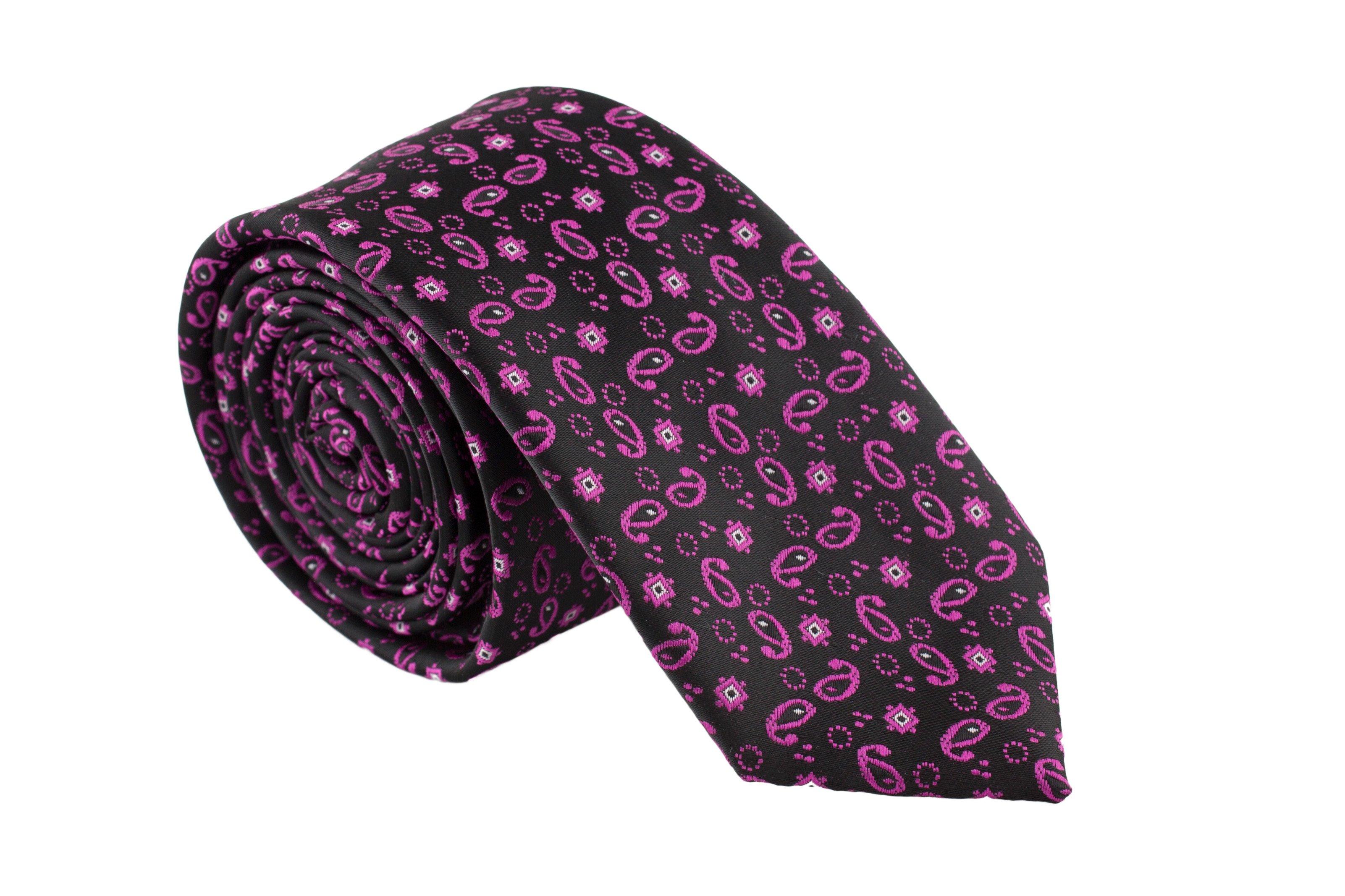 Cravata Slim neagra cu model Paisley mov